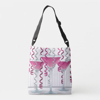 Pink cocktail and ribbon crossbody bag