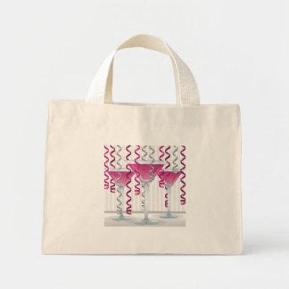 Pink cocktail and ribbon mini tote bag