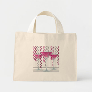 Pink cocktail and ribbon mini tote bag