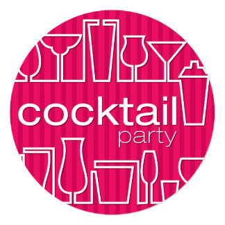 Pink cocktail party card