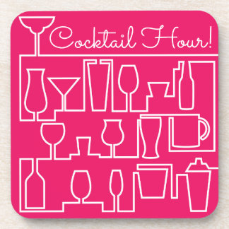 Pink cocktail party coaster