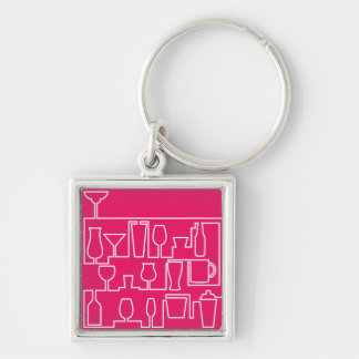 Pink cocktail party keychain