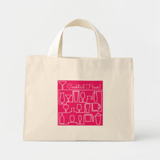 Pink cocktail party mini tote bag