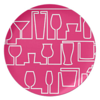 Pink cocktail party plate