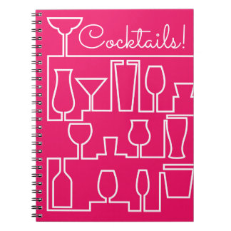 Pink cocktail party spiral notebook