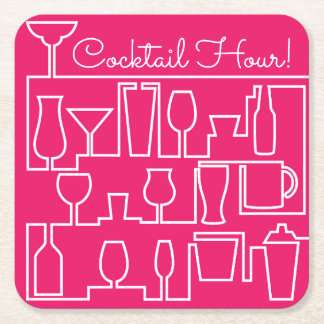 Pink cocktail party square paper coaster