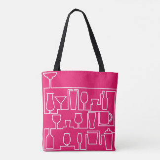 Pink cocktail party tote bag