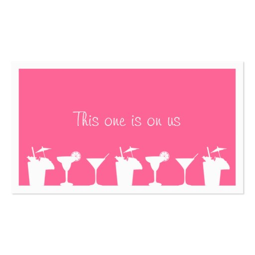 Pink cocktail wedding event custom drink ticket business card templates