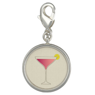 Pink cocktail with a slice of lemon charm