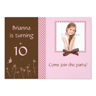 Pink Cocoa Dots Photo Invitation