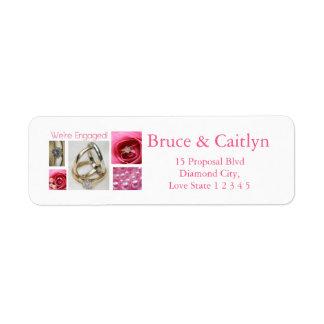 Pink collage engagement announcement return address label