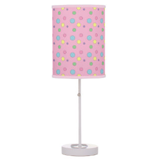 Pink Colorful Polka Dots Table Lamp