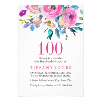 Pink Colorful Tropical Floral 100th Birthday Card