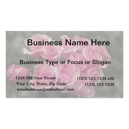 pink colorized rose bouquet Spotted background Business Card