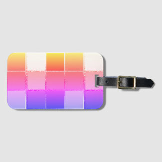 Pink Colourful Cube Geometric iPanema Cubist Luggage Tag