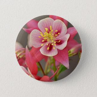 Pink columbine flower print 2 inch round button