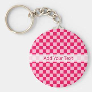 Pink Combination Classic Checkerboard by STaylor Basic Round Button Keychain