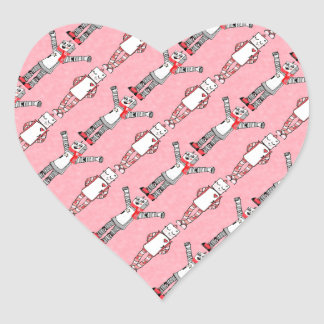 Pink Comic Style Vintage Valentine's Day Robots Heart Sticker
