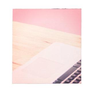 Pink Computer at Desk Photo Inspiration Memo Notepad