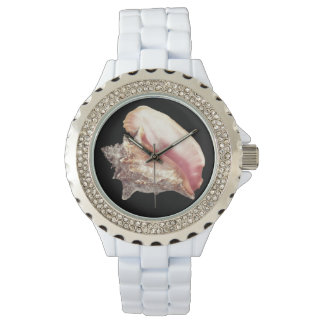 Pink Conch Shell Light Gray Tie Watch
