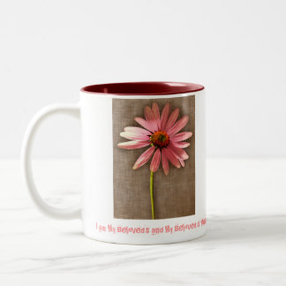 Pink Cone Flower -I am My Beloved's and My Beloved Two-Tone Coffee Mug