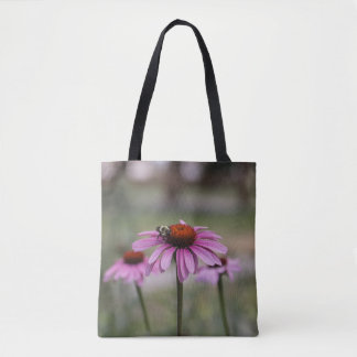 Pink Cone Flowers and Bumble Bee Tote Bag