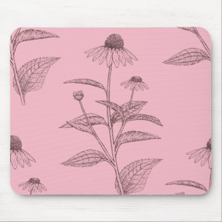 Pink Coneflower Botanical Tracing Mouse Pad
