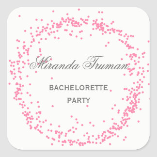 Pink Confetti Bachelorette Party - Square Sticker