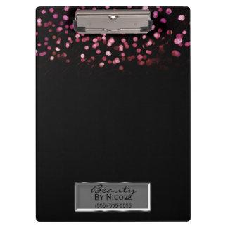Pink Confetti Black Elegant Chic Glam Personalized Clipboard