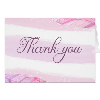 Pink confetti feathers thank you note card