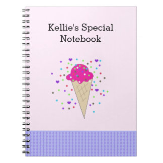 Pink Confetti Ice Cream Notes Notebook