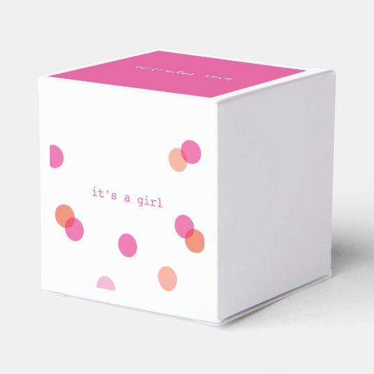 Pink confetti   It's a girl favour boxes Party Favor Box