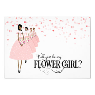 Pink Confetti Will You Be My Flower Girl Ethnic Card