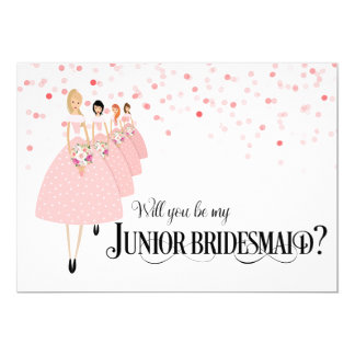 Pink Confetti Will You Be My Junior Bridesmaid Card