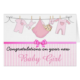 Pink Congratulations on your new Baby Girl Card