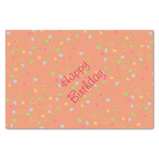 Pink Coral And Polka-Dot Birthday Decor Tissue Paper