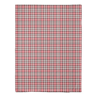 Pink Coral, Black, and White Plaid Pattern Duvet Cover