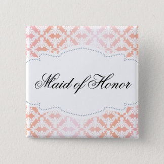 Pink & Coral Damask Maid of Honor 2 Inch Square Button