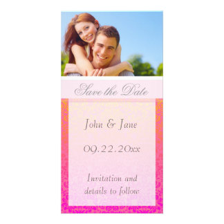 "Pink/Coral Damask/photo  ""Save the Date"" Photo Cards"