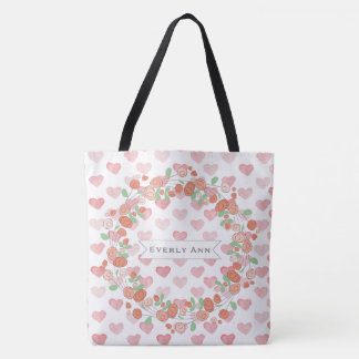 Pink Coral Floral  Wreath Watercolor Heart Pattern Tote Bag