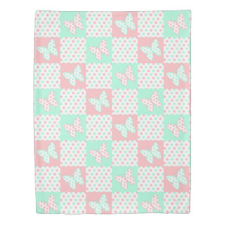 Pink Coral Mint Green Butterfly Polka Dot Quilt Duvet Cover
