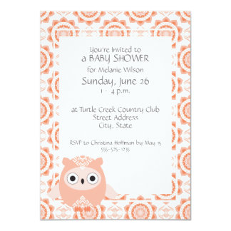 Pink & Coral Owl Baby Girl Shower Invitations