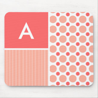 Pink & Coral Polka Dots, Dots Mousepads