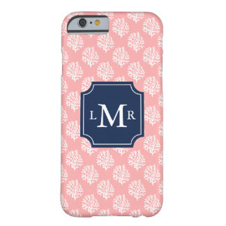 Pink Coral Reef Pattern and Monogram Barely There iPhone 6 Case