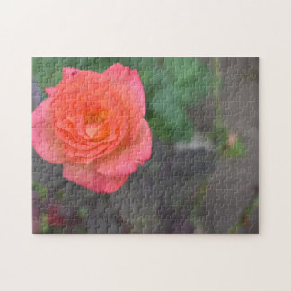 Pink Coral Rose Flower Garden Floral Nature Photo Jigsaw Puzzle