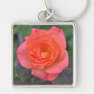 Pink Coral Rose Nature Photography Flower Plant Keychain