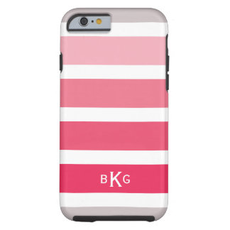 Pink Coral Stripes Custom Monogram Tough iPhone 6 Case