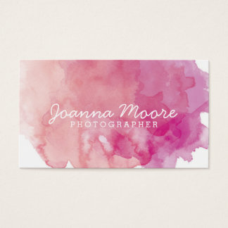 Pink Coral Watercolor Business Card