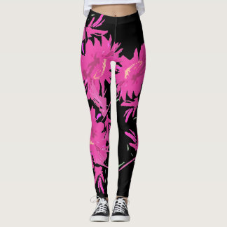 Pink Coreopsis Flowers All Over Print Leggings