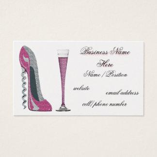 Pink  Corkscrew Stiletto & Champagne Business Card